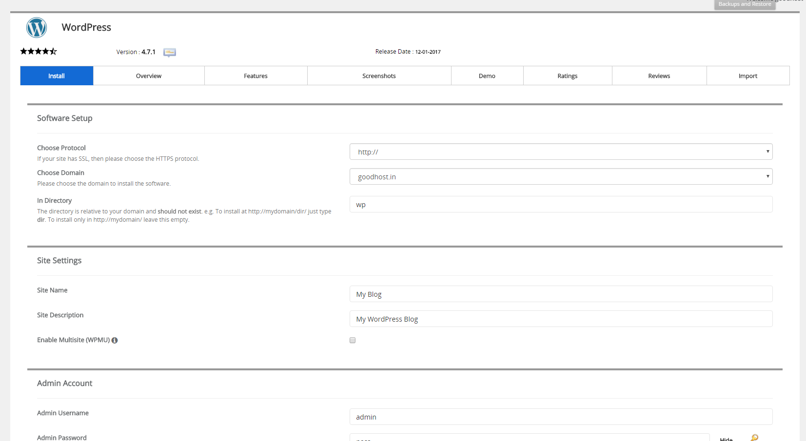 Softaculous WordPress Installation Page
