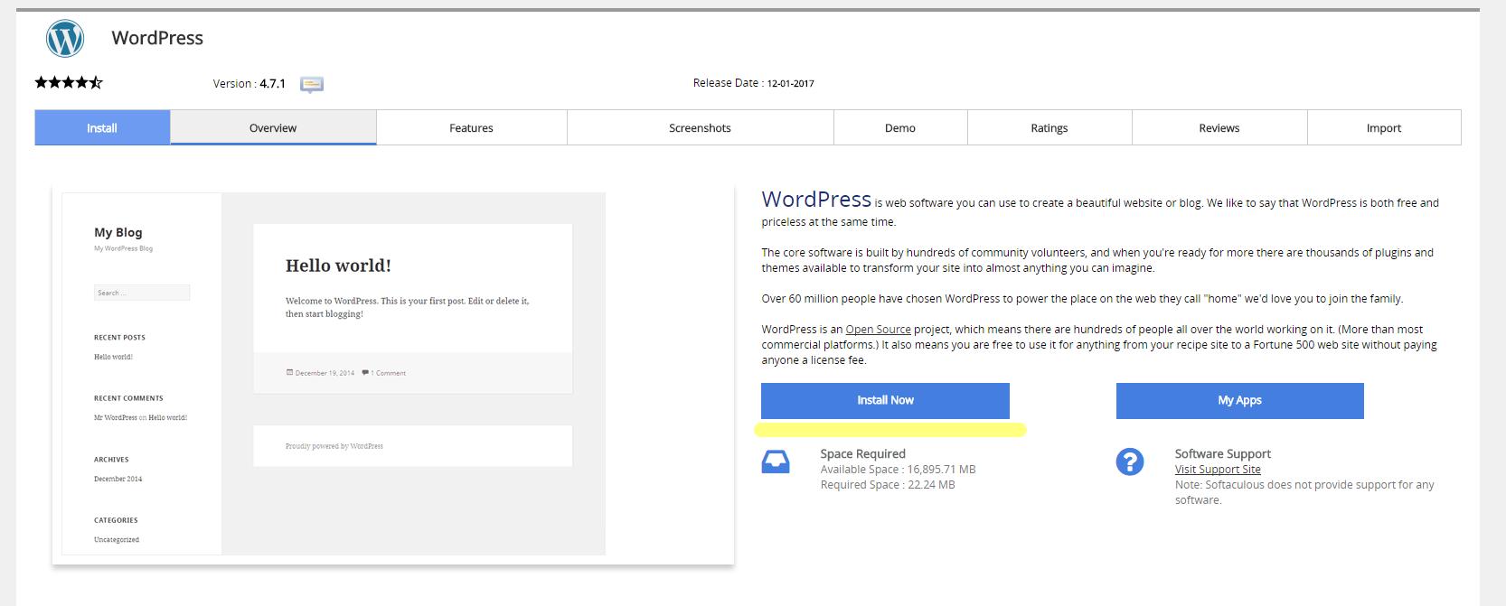Softaculous WordPress Main Info Page